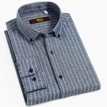 Mens Long Sleeve Button Down Brushed Striped Shirts Casual Standard fit Comfortable Soft 100% Cotton Thick Tops Shirt