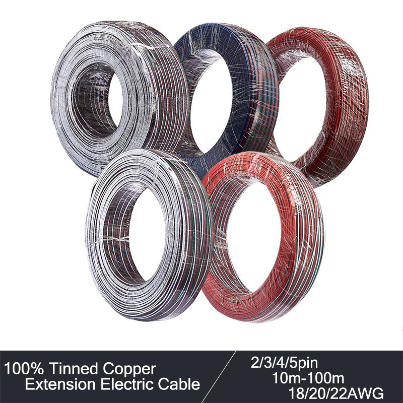 <font><b>2</b></font>/3/4/5pin Electrical Cable 22AWG 20AWG 18AWG Extension <font><b>LED</b></font> Cable Wire10/20/50/100m Electric Cable For 3528 2835 RGB <font><b>LED</b></font> <font><b>Strip</b></font> image