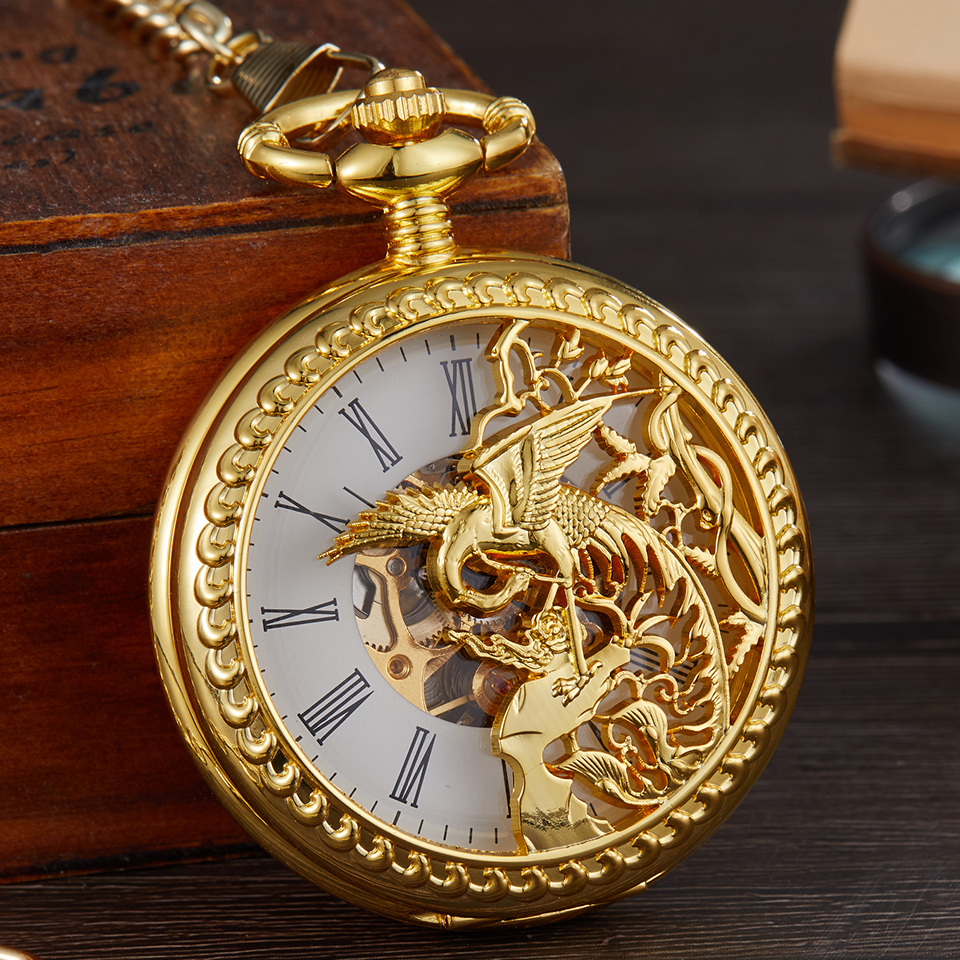 Vintage Phoenix Bird Laser Engraved Mechanical Pocket Watch Animal Chain Necklace Hand Winding Men Fob Watches Double Case Clock