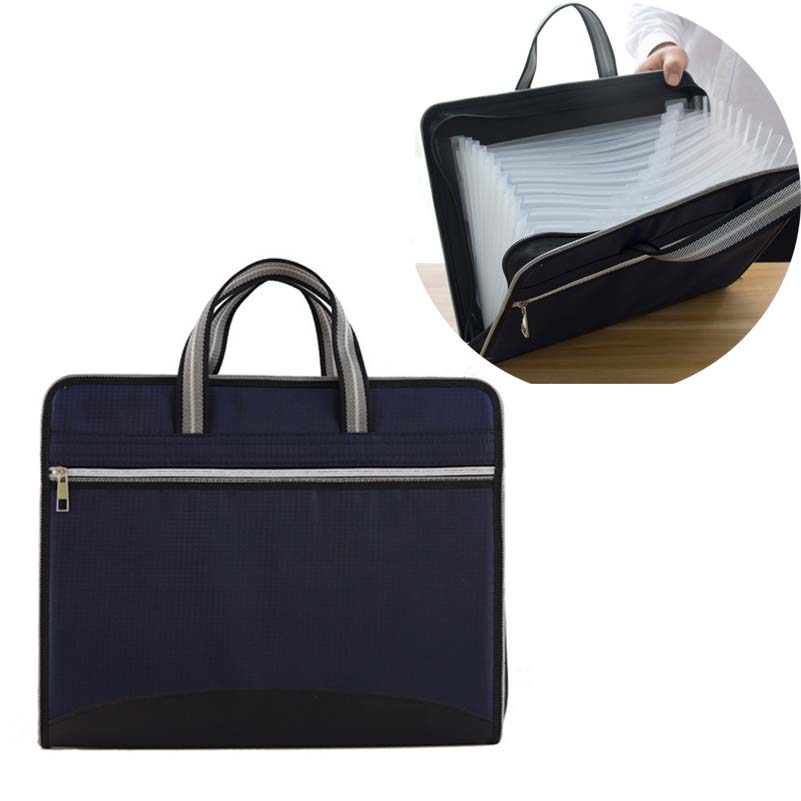 Business Briefcase A4 Document Bag Zipper Waterproof File Organizer Bag 12 Layer Oxford Cloth Organ Package Office Document File