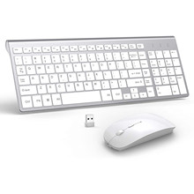Wireless Keyboard and Mouse Combo, Full-size keyboard,,Slient Click Mouse for PC, Laptop, Desktop, Windows, Mac OS(Silver White)