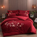 Роскошный зимний флисовый комплект постельного белья с цветочной вышивкой птицы  красный  зеленый  серый  синий  фланелевый пододеяльник  п...