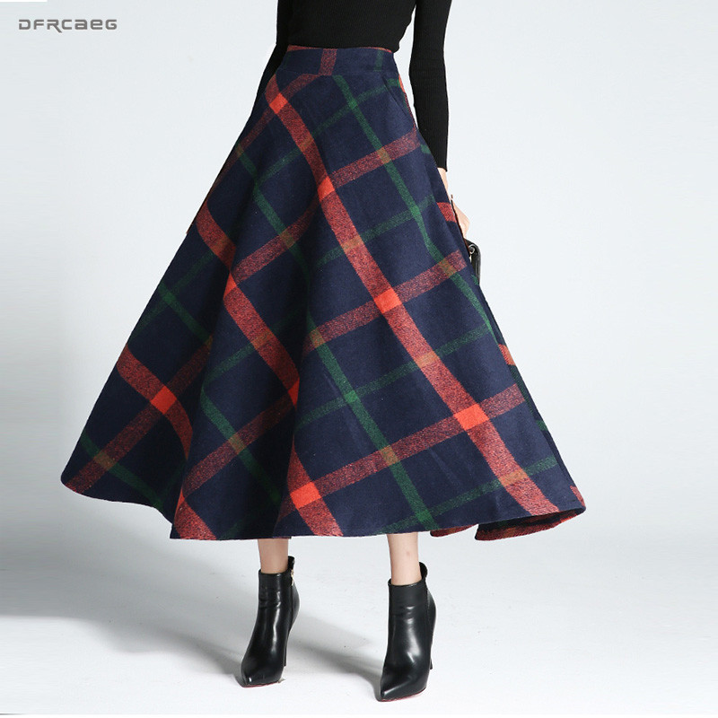 High Waist Winter Warm Wool Long Skirts Women Fashion Streetwear Vintage Woolen Print Plaid Skirts Female Saias