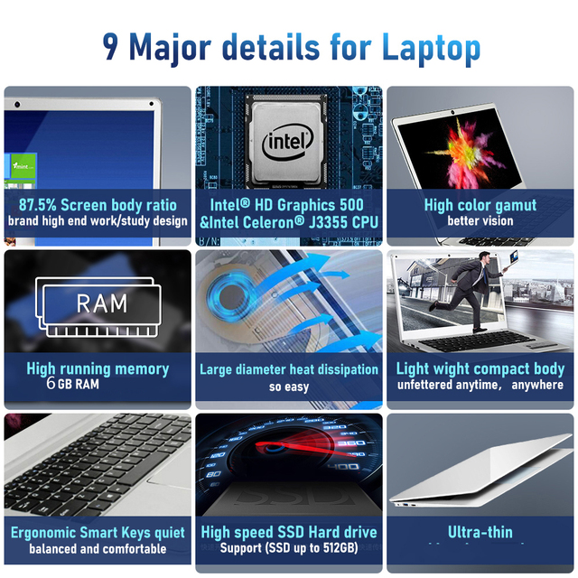 14.1 inch Laptop Intel Celeron J3355 6GB RAM 64GB SSD Computer Windows 10 Untra Thin Laptops All Metal for Student NoteBook 3