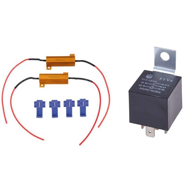 2 Pcs LED Bulb Load Resistor Turn Signal Flash Controller & 1 Pcs Repeater Relay 12V 30A 5 Pin 40A for Auto Car