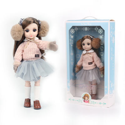 30CM BJD Doll 15 Ball Joints Bjd Dolls With Winter Outfits Dress Girl Princess Gift Make up Girls DIY BJD Toys Best Gift for Kid 8