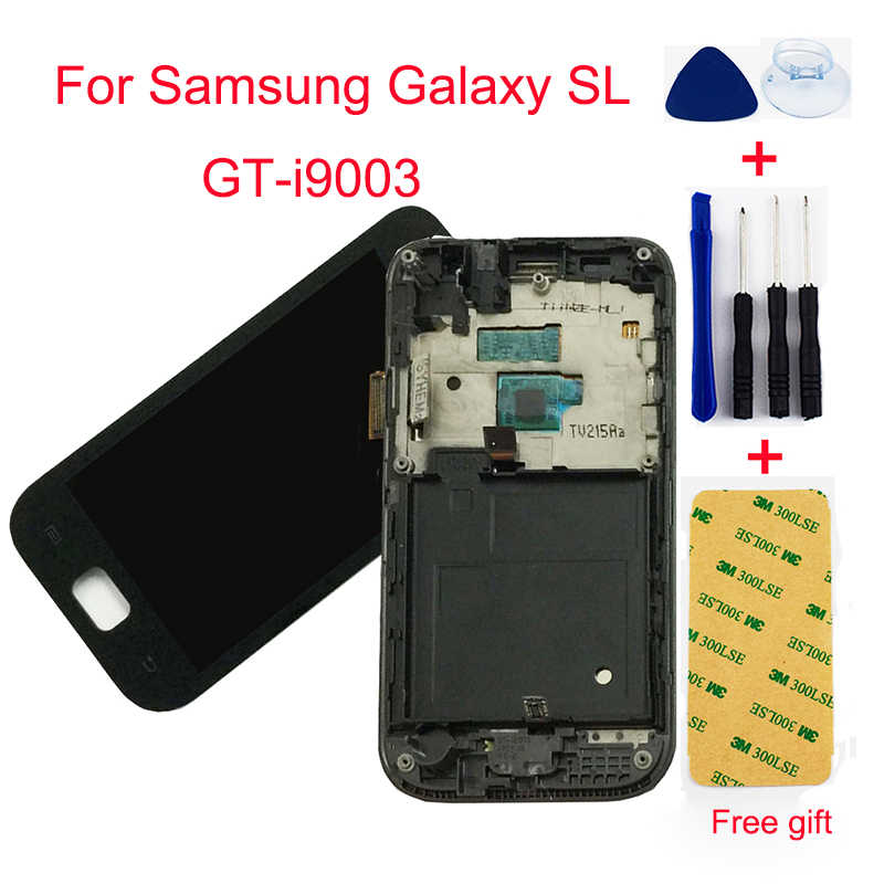 Black For Samsung Galaxy SL GT-i9003 I9003 LCD Touch Screen Digitizer LCD Display Panel Monitor Assembly With Frame Replacement