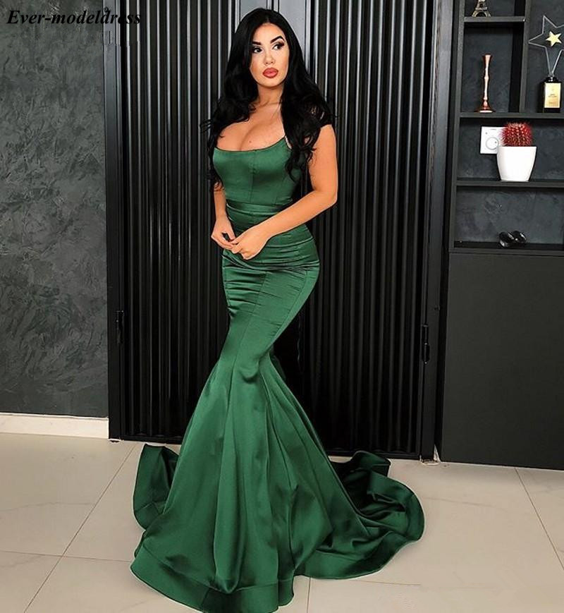 Green Mermaid Evening Dresses 2019 Spaghetti Corset Back Sweep Train Long Prom Dress Formal Party Gowns Robe De Soiree