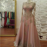 Elegant Gold Lace Appliqued Long Prom Dresses O Neck Beaded Crystal Long Sleeve Evening Dress Blush Pink Tulle Formal Party Gown