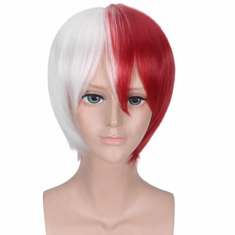 My Hero Academia Cosplay peruk Shoto Todoroki Shouto beyaz ve kırmızı kafa kostüm Boku hiçbir Hiro Akademia Cosplay cadılar bayramı hediye