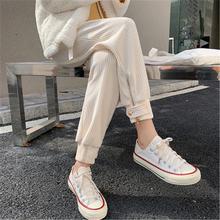 Hzirip novo elegante veludo quente M-4XL senhora do escritório 2021 quente breve plus size calças soltas casual femme sólida calças de cintura alta