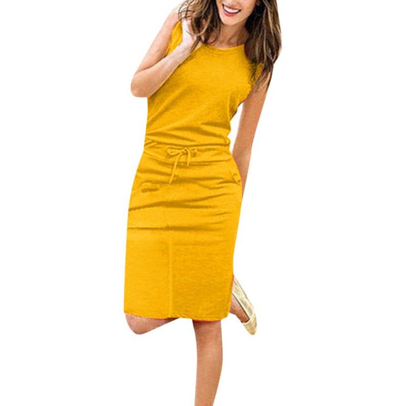 Jocoo Jolee Women Causal Sleeveless Pockets Pencil Dress 2020 Summer Solid Drawstring Waist Beach Party Sundress 1