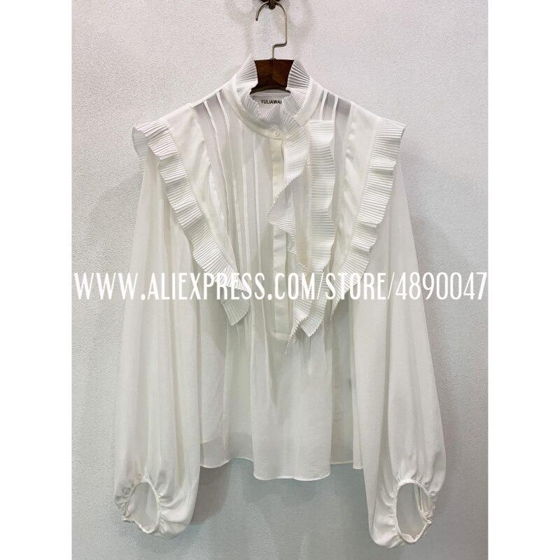 2020 Lotusblad Ruche Mode Vrouwen Lange Mouwen 100% Zijde Shirt Ol Elegantie Tops Hoge Kwaliteit Retro Shirt