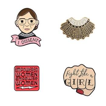 Женская Брошь Рут Бадер гинсбург, эмалированная брошь на лацкан, джинсовая рубашка, воротник, феминистская бижутерия, подарок для женщин, оптовая продажа