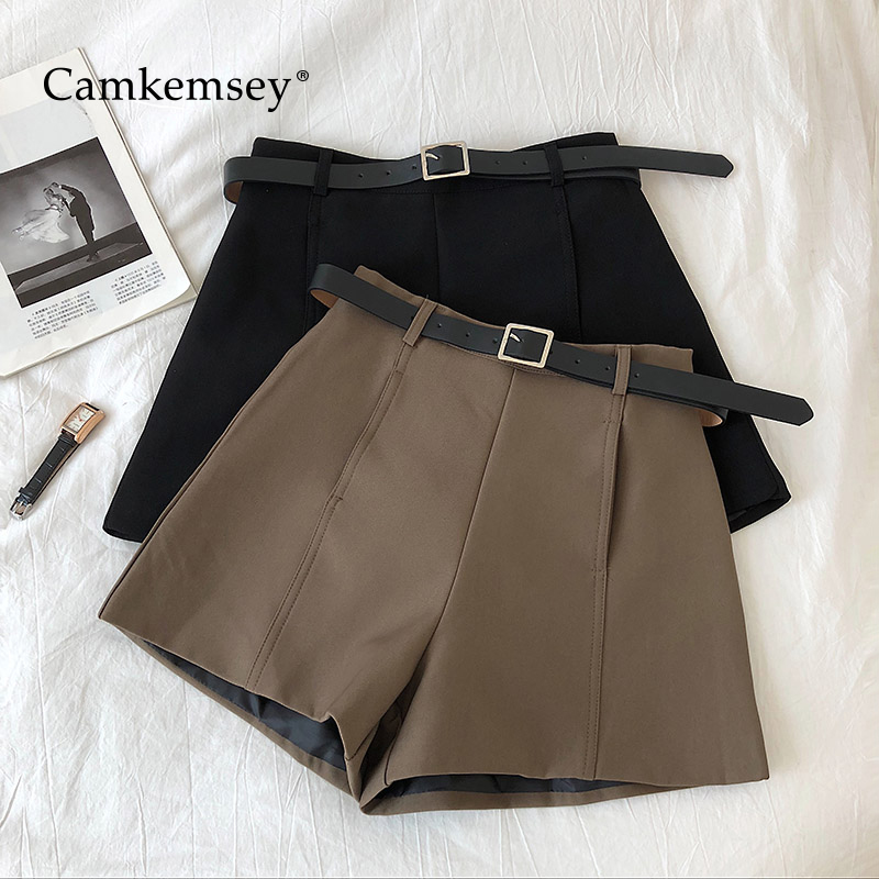 CamKemsey Korean Solid Casual High Waist Shorts Women 2020 Spring Autumn Basic Wide Leg Office Lady Leisure Suit Shorts