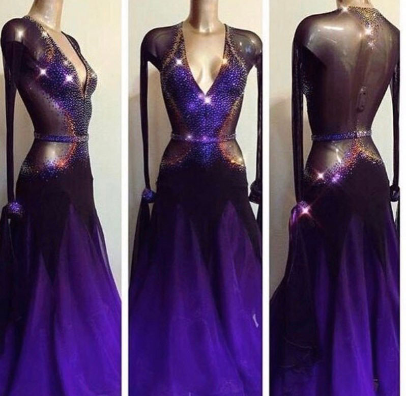 New Purple Rhinestone Women Ballroom Dance Dress Long Sleeve See Thought Waltz Tango Dance Competition Performance Clothes Stage