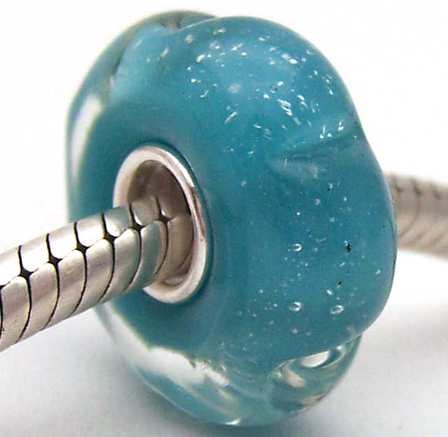 PJG2283 100% S925 Nữ Bạc Hạt Thủy Tinh Murano Hạt Thủy Tinh Phù Hợp Với Châu Âu Vòng Tay Vòng Đeo Tay Hạt Charm DIY Trang Sức Lampwork Glassbeads