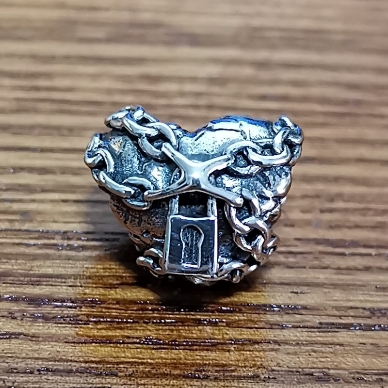 Pendentif en forme de coeur Antique perles en argent Sterling 925 véritable breloques pour femme bricolage Original européen Bracelet bijoux