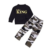 цена на 2pcs Kids Boys Letter & Camouflage Pattern Long Sleeves T-Shirt & Long Pants Trousers Outfits for Casual Daily Wear