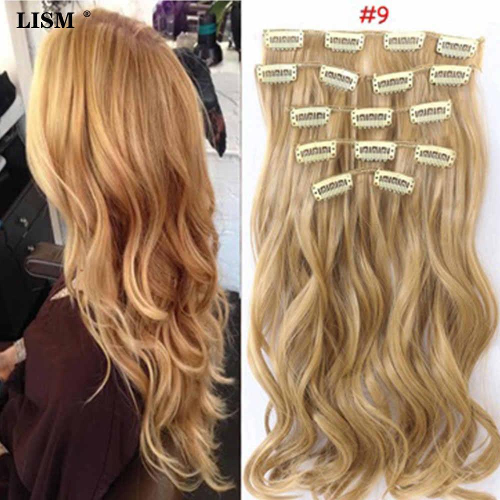 Moda damska 24 cale 60CM naturalne włosy do przedłużania klip Perruque blond/czarna syntetyczna koronka długa prosta peruka z lokami Piece
