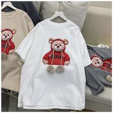 Harajuku bola tshirt verão feminino algodão meia manga em torno do pescoço t-shirts estilo coreano kawaii bonito urso roupas femininas topos