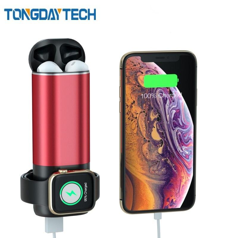 Tongdaytech qi carregador sem fio para apple assistir série 5 4 3 2 1 banco de potência carregador de telefone para iphone x 8 11 pro max carregador
