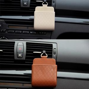 Image 3 - Auto Vent Outlet Vuilnis Doos PU Lederen Auto Mobiele Telefoon Houder Opbergtas Organizer Auto Opknoping Box Auto Styling 3 kleuren