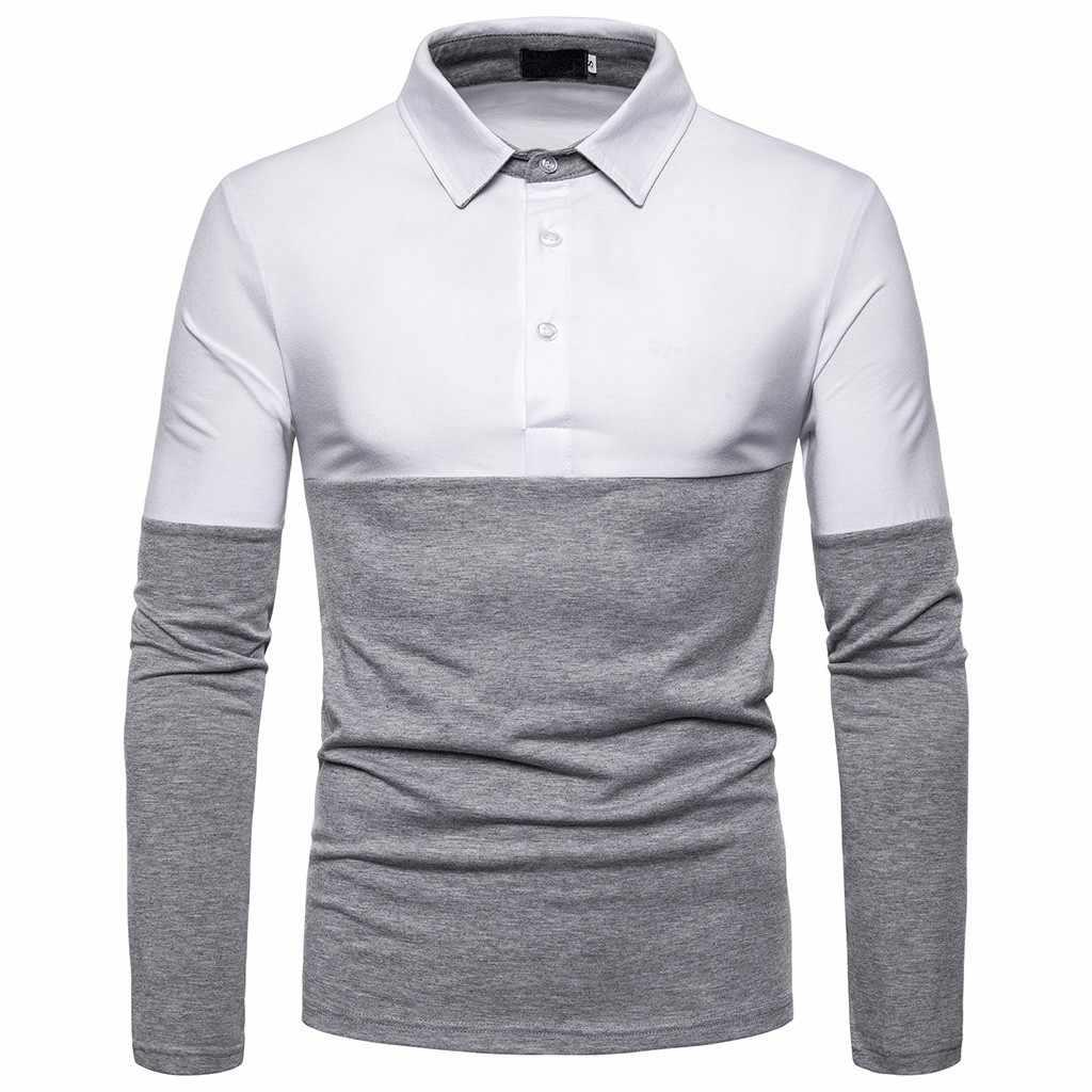 Hommes Polo marques hommes à manches longues mode décontracté mince broderie épissure coupe mince Polos hommes maillots camisa polo para hombre