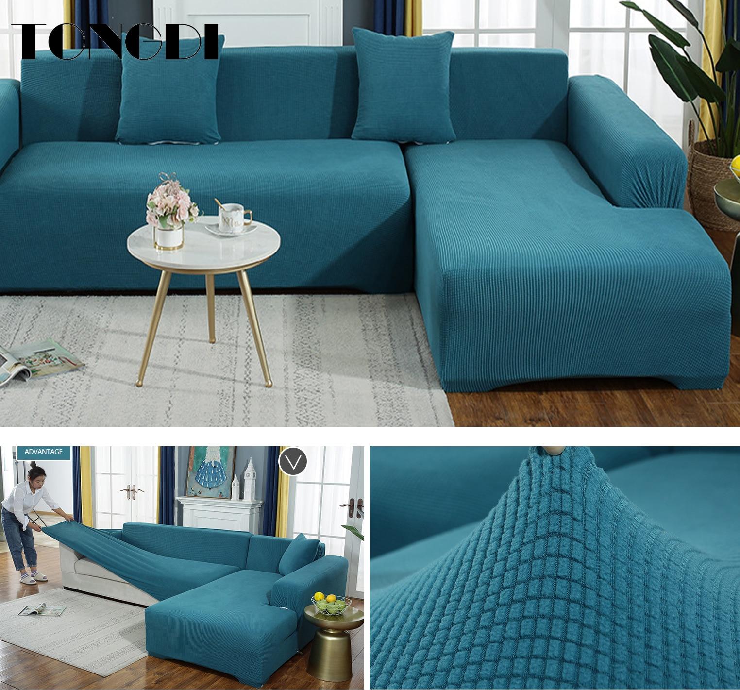 TONGDI Lustrous Elastic Sofa Cover Soft Elegant All inclusive Velvet Luxury Pretty Decor Slipcover Couch For