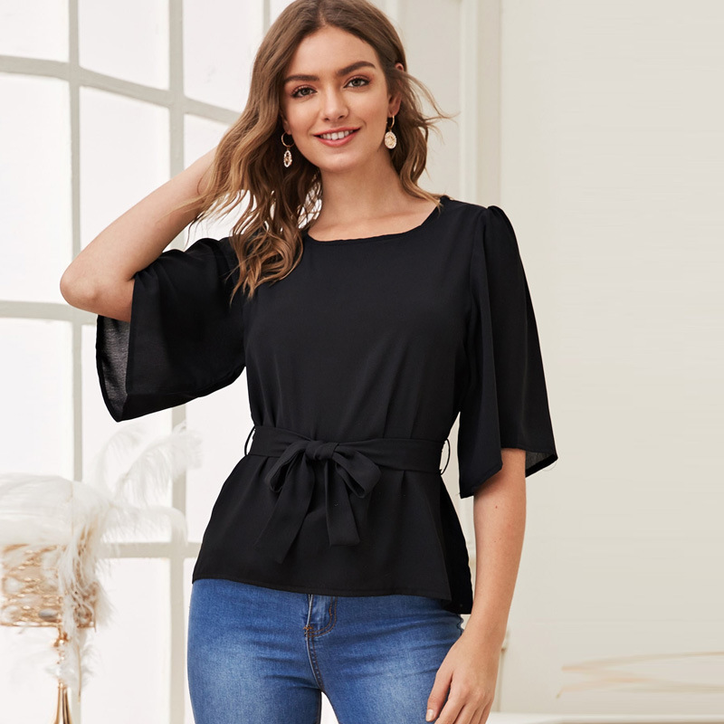 Woman Fashion Streetwear Flare Sleeve Chiffon Blouse for Summer 2020 Sheath Sashes Waist Solid Black Casual Slim Tops Plus Size