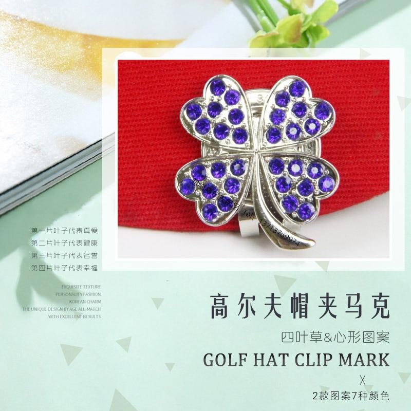 Golf Hat Clip Mark Clover Heart Shape Pattern 7-for Selection Diamond Set Padded Ballmarker Gift Set New