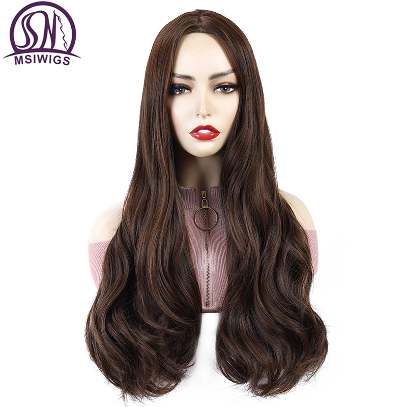 MSIWIGS Long Wavy Brown Synthetic Wigs for Women Afro Black Hair High Temperature Fiber Middle Part Nature Wigs