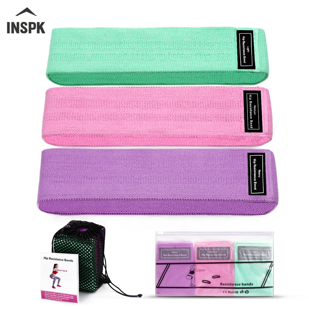INSPK Yoga Elastic Fitness,Cotton Wool+Latex Screen Yoga Tape,Pink/Purple/Green Elastic Bands With Manual+Bag For Fitness Sport