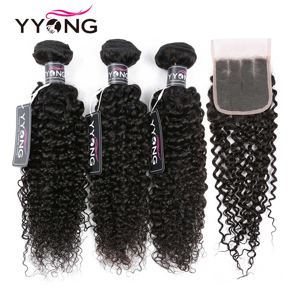 Yyong Brazilian Kinky Curly Bundles With Closure 3 Bundles Human Hair With Closure Mink Hair Weave Bundles With Closure Remy
