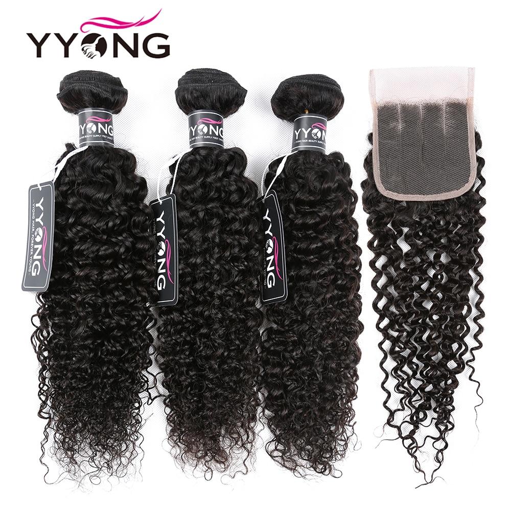 Yyong Brazilian Kinky Curly Bundles With Closure 3 Bundles Human Hair With Closure Mink Hair Weave Bundles With Closure Remy