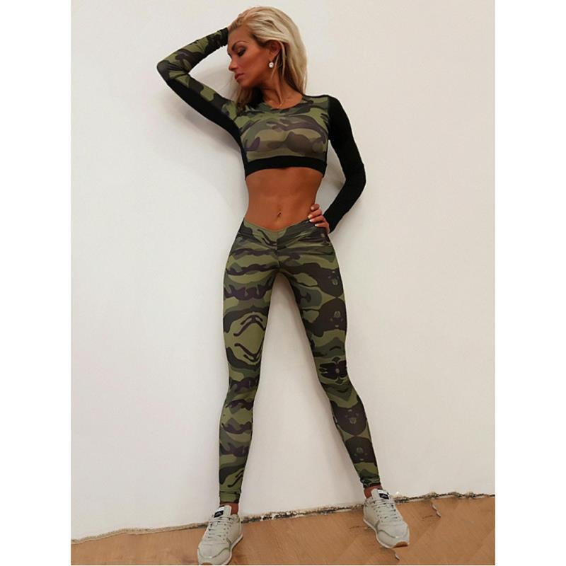 WOMEN'S Dress Europe And America Fashion Camouflage Joint Sports Set Tight Yoga Suit Two-Piece Set Ba0043