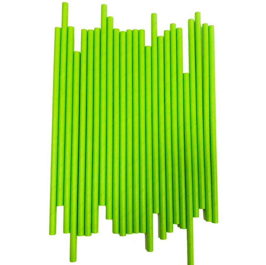 100 pcs Solid Plain Lime Green Paper Straws,Wedding Birthday Party Drinking Smoothies Juice Cocktail Soda Restaurant Coffee Bar image