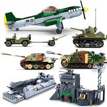 WW2 Normandy Landings UK US Germany Army Sets Building Blocks Bricks Toys World War II 2 Military Vehicle Pershing Panther Tanks