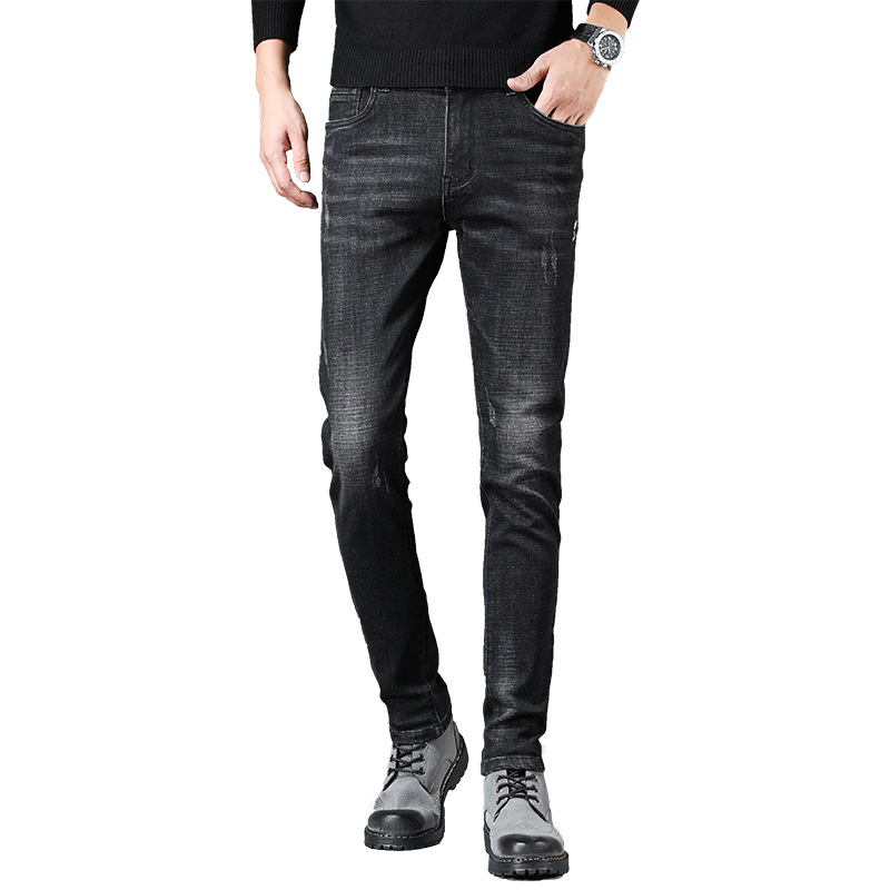 Autumn & Winter Black Jeans Men's Slim Fit Western Style Casual Elasticity Skinny Pants Youth Korean-style Trend Trousers