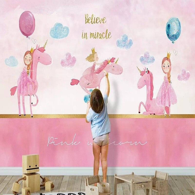 Custom Large Mural 3D Wallpaper Nordic Cartoon Creative Unicorn Girl Pink Child Bedroom TV Back Wall Decor Deep 5D Embossed