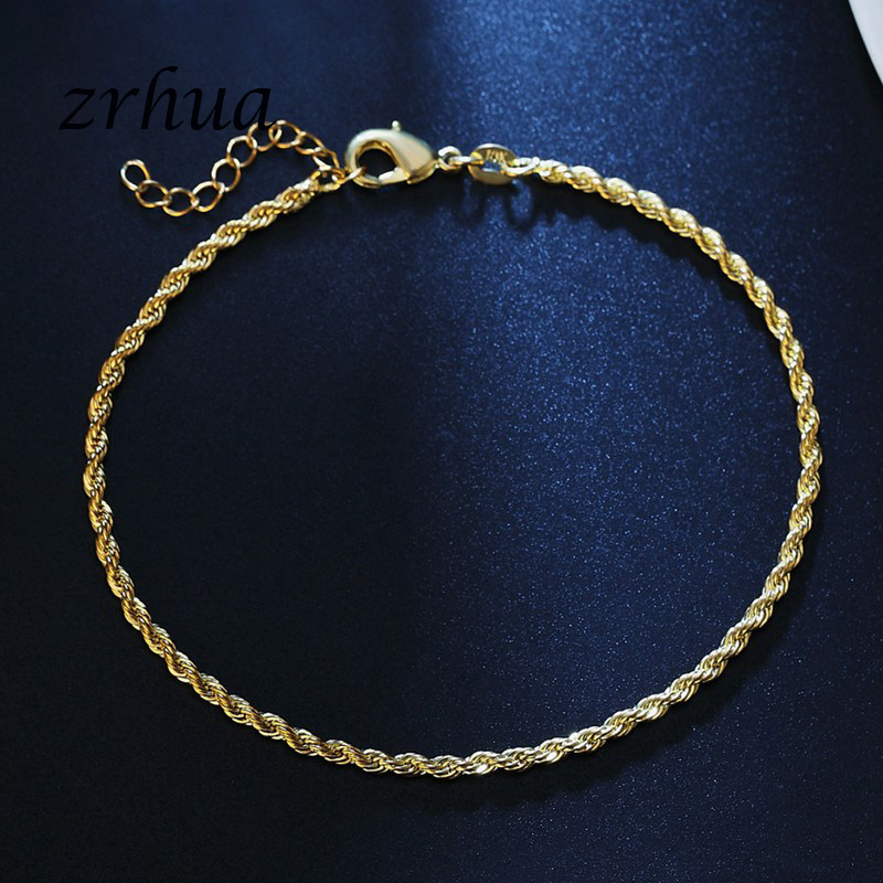 Romantic Twisted chain 925 Sterling Silver Bracelets & Bangles Adjustable Women Charm Anklets Jewelry Gifts Gold Color Bijoux 4