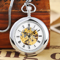 Luxury Silver Smooth Mechanical Pocket Watch Roman Numerals Hand Winding Pocket Watch Stainless Steel Fob Clock Chain Pendant