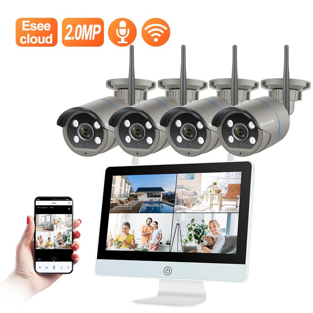 Techage 8CH HD 1080P Drahtlose CCTV Kamera System 2MP WIFI Zwei-weg Audio Wasserdichte Outdoor Überwachung 12