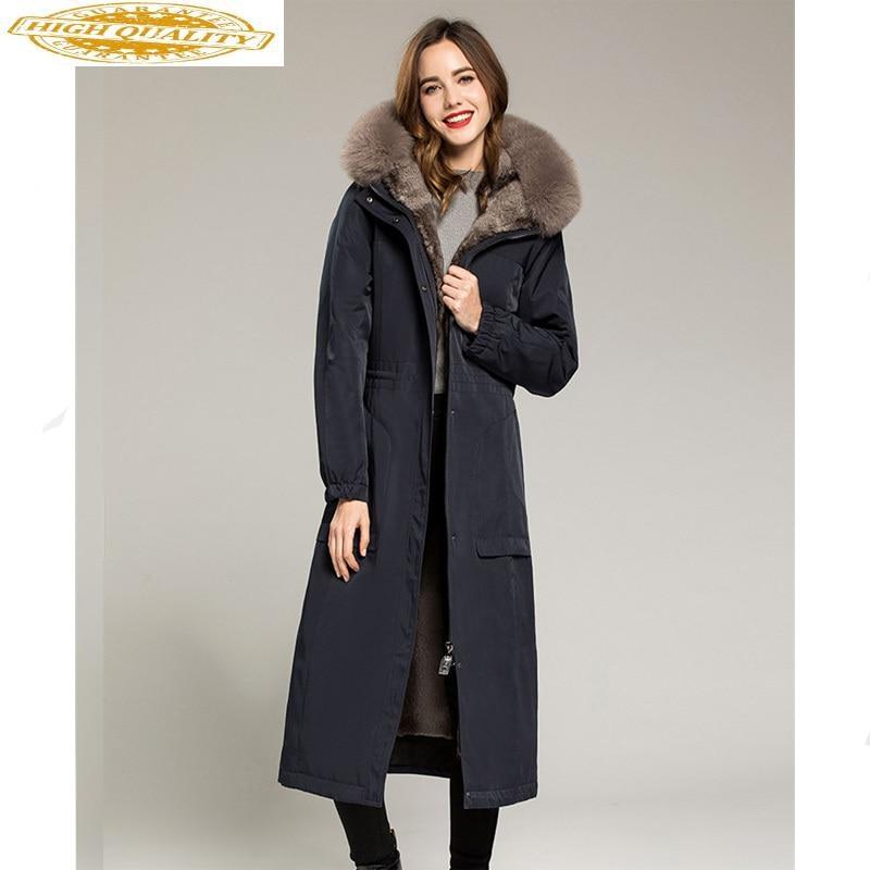 Natural Rabbit Fur Liner Parka Women Clothes 2020 Winter Jacket Women Fox Fur Collar Long Coat Female Overcoat MY3529