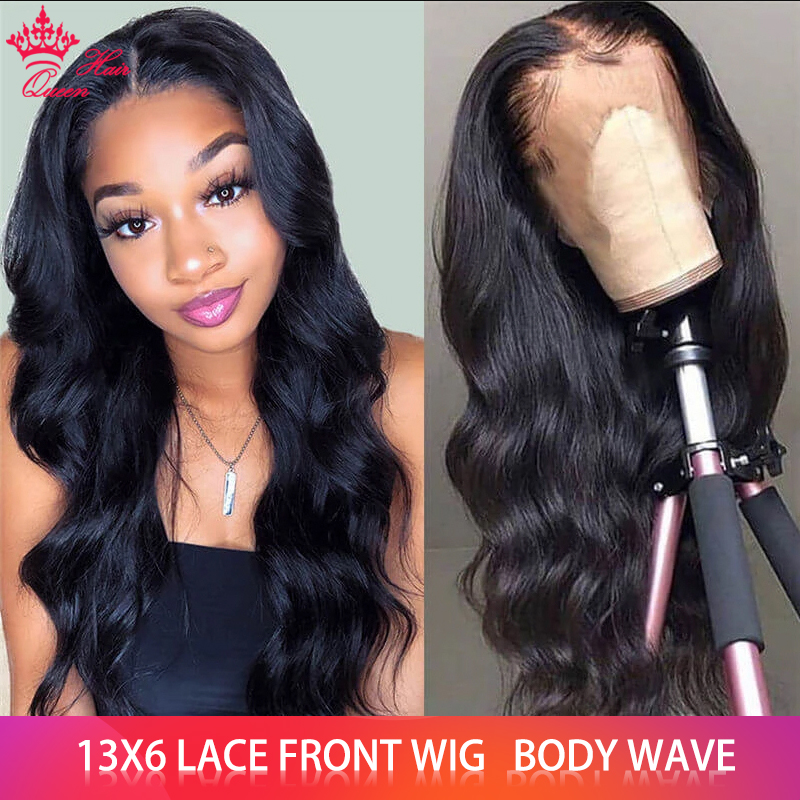 Queen Hair Products Body Wave 13x6 Lace Front Wig Brazilian BIG Lace Frontal Wigs 100% Human Hair Natural Color FAST Shipping