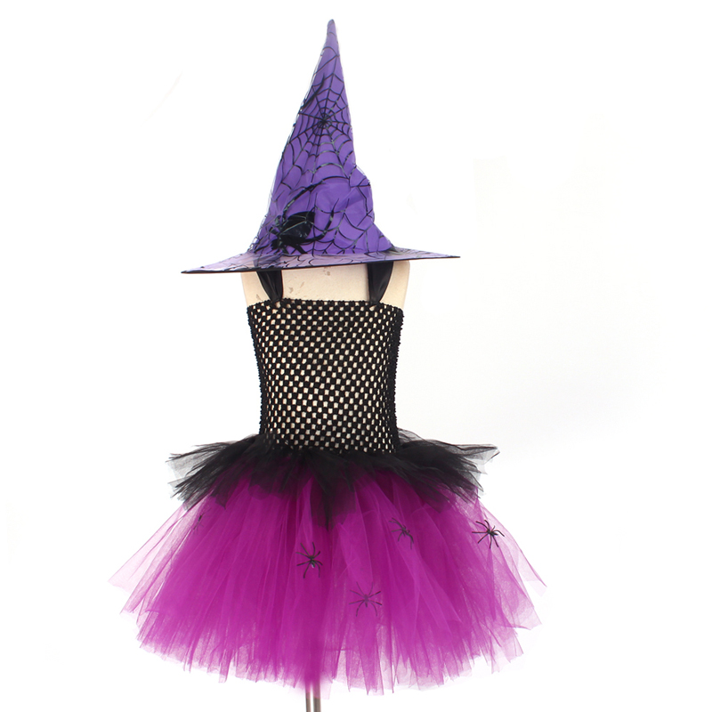 Spider Girls Witch Tutu Dress with Hat Black Purple Children Halloween Carnival Cosplay Witch Costume Kids Party Fancy Dresses (1)