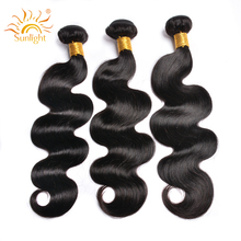 Indian Body Wave Hair Bundles Natural Human Hair Weave Bundles Sunlight Human Hair Extensions 1B# Non Remy Hair 1/3/4 Pieces