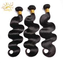 Indische Körper Welle Haar Bundles Natürliche Menschliche Haarwebart Bundles Sonnenlicht Menschliches Haar Extensions 1B # Nicht Remy Haar 1 /3/4 stück