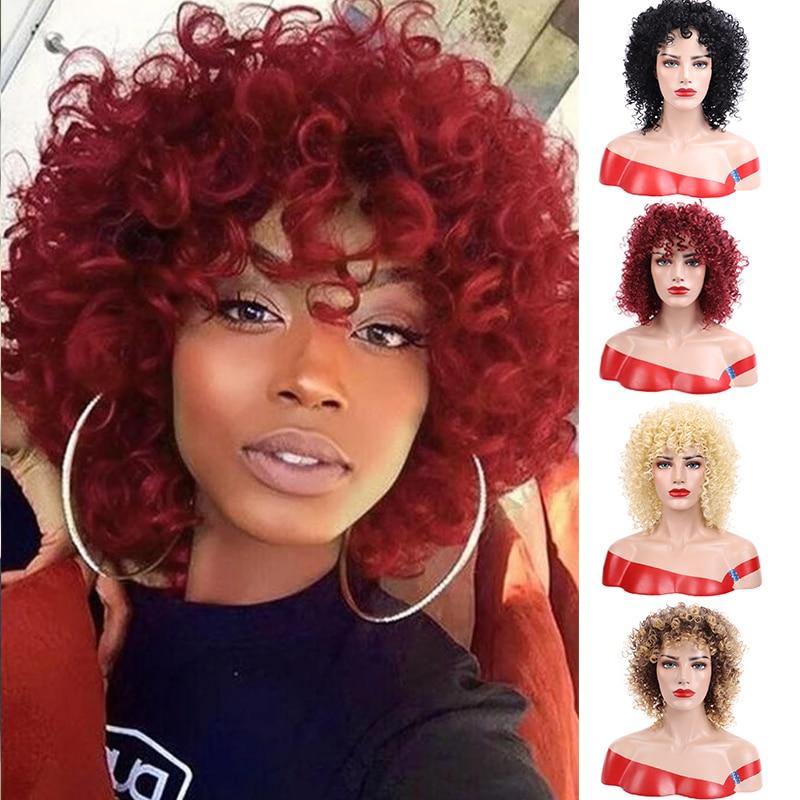 Dianqi 14 polegada curto encaracolado perucas de cabelo sintético vermelho fácil de usar perucas para festa femalel preto
