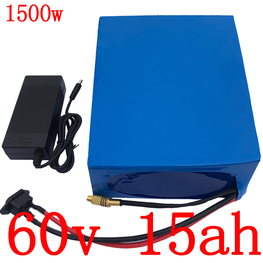 60V battery pack 60V 15AH electric bicycle battery 60v 15ah lithium battery for 60V 1000W 1500W 1800W electric scooter motor